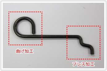 曲げ加工とプレス加工による線材加工品