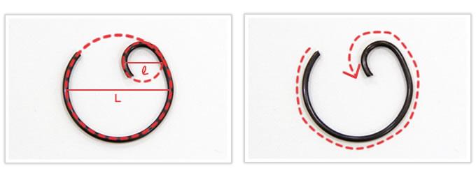 大・小異なる径を自動コイリング機で一発成型したコイル