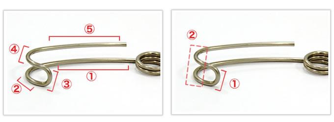 U字型のR曲げ線材加工品