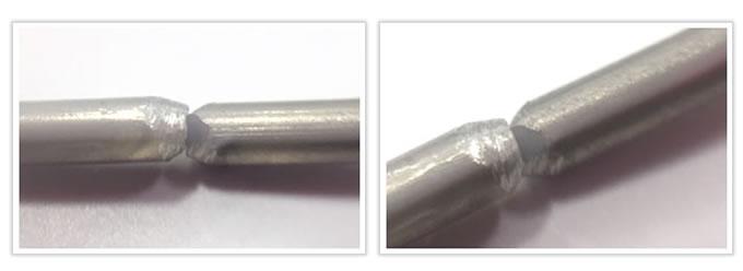 面取りを行った線の両端を密着させた線材曲げ加工品