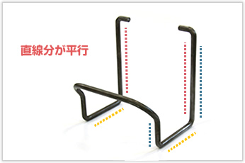 対称となるすべての直線部が平行になるよう加工した線材加工品